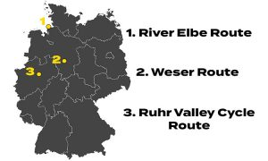 The depicted map shows the starting points of three popular German cycling routes